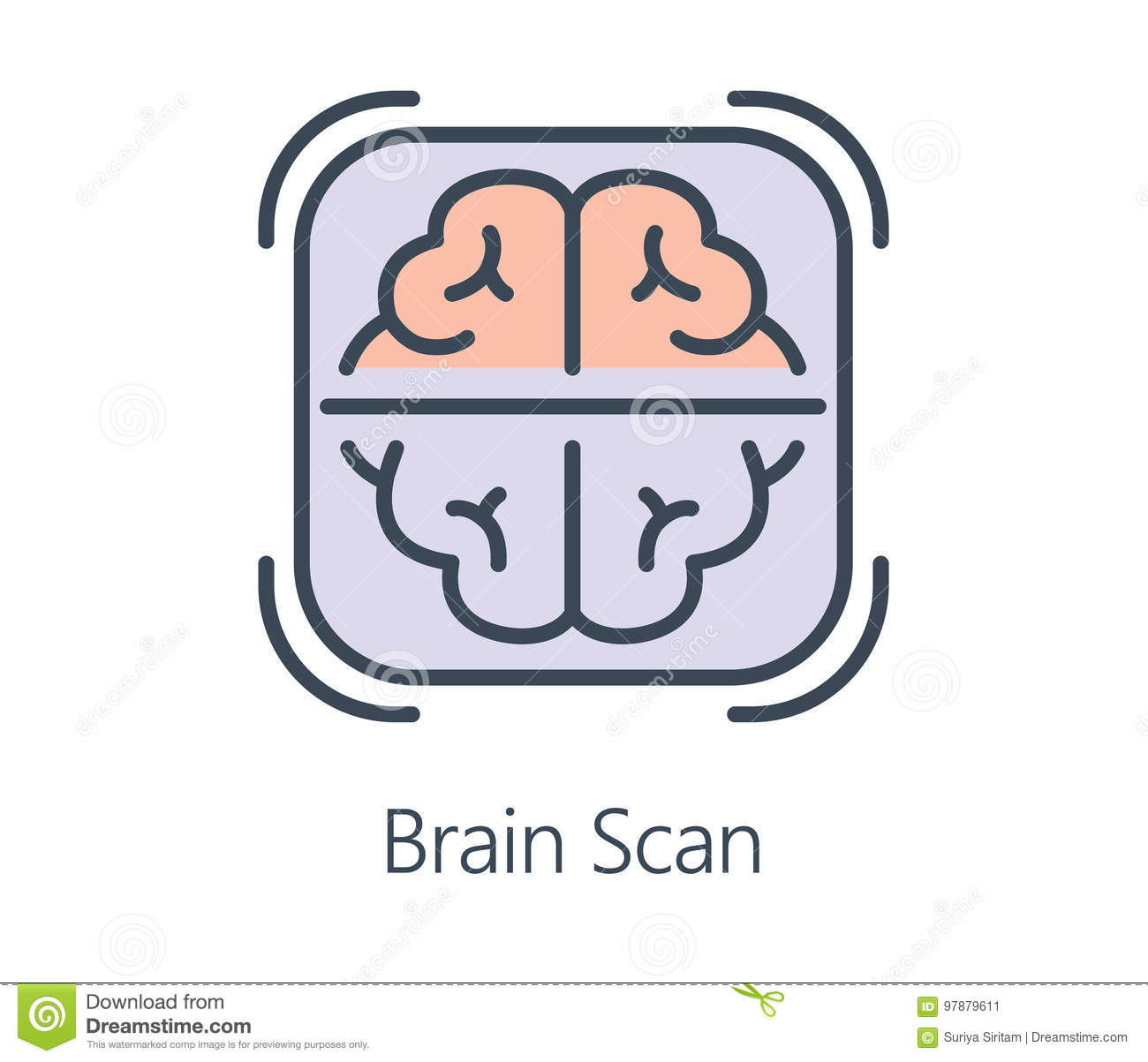 Icon Design Brain Scan In Flat Line Style Stock Vector