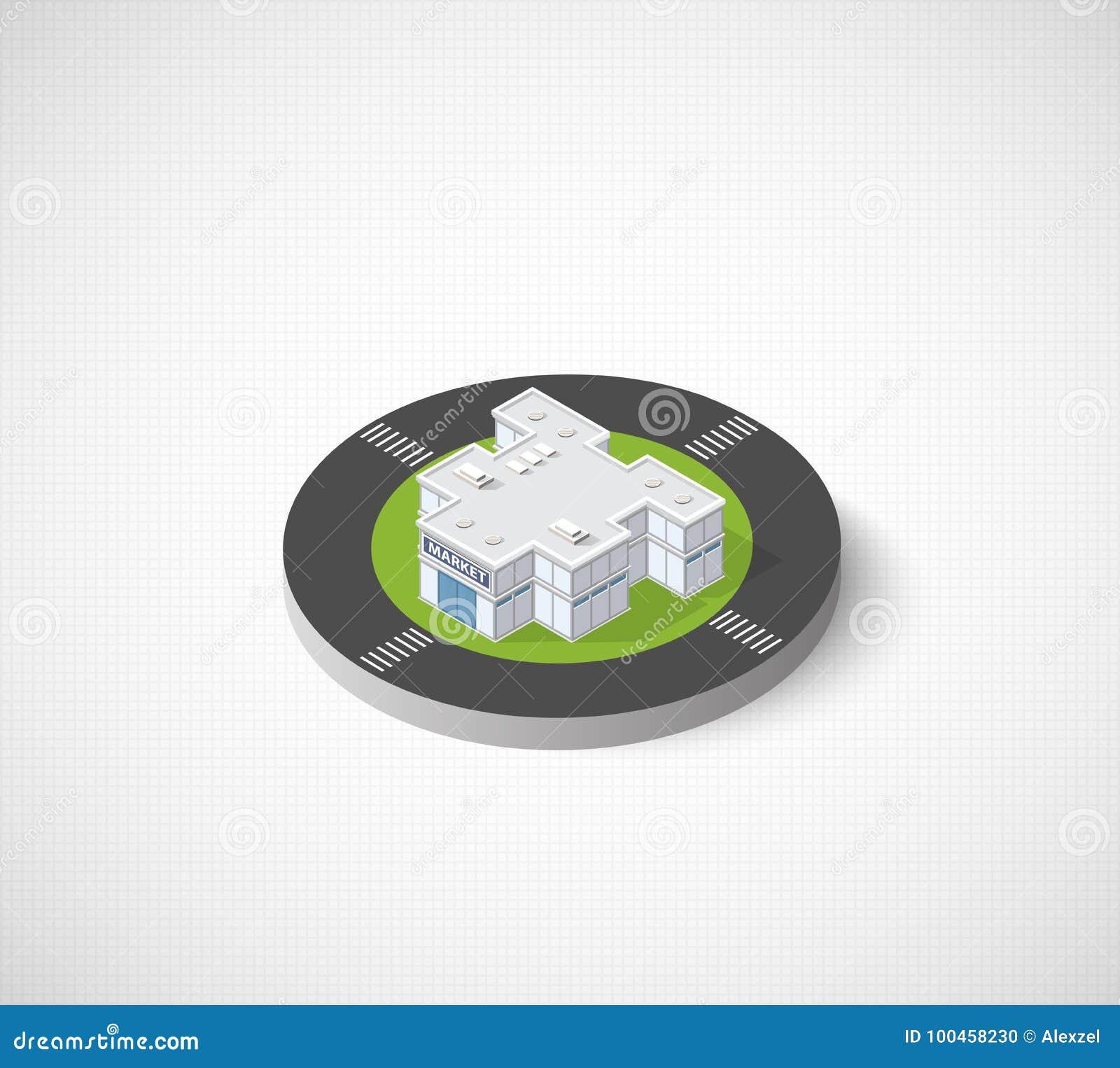 Icon dimensional building stock illustration  Illustration