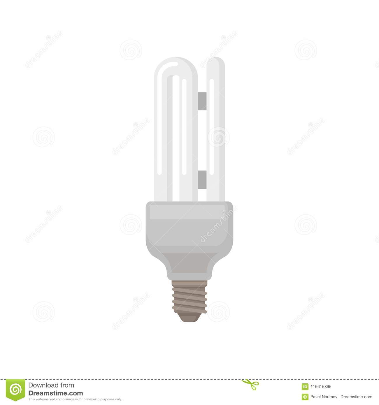 Fluorescent Light Elements: Colorful Flat Vector Icon Of Double Tube Fluorescent Lamp