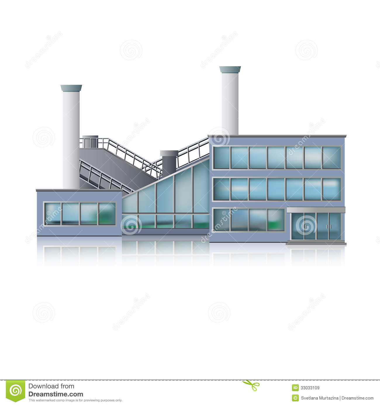 Icon factory and office building stock vector image for Production builder