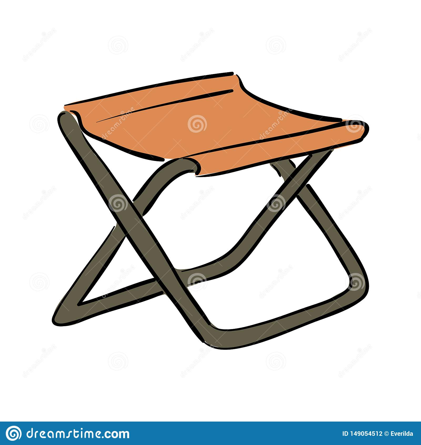 Icon Of Fishing Folding Chair White Background With Shadow Design