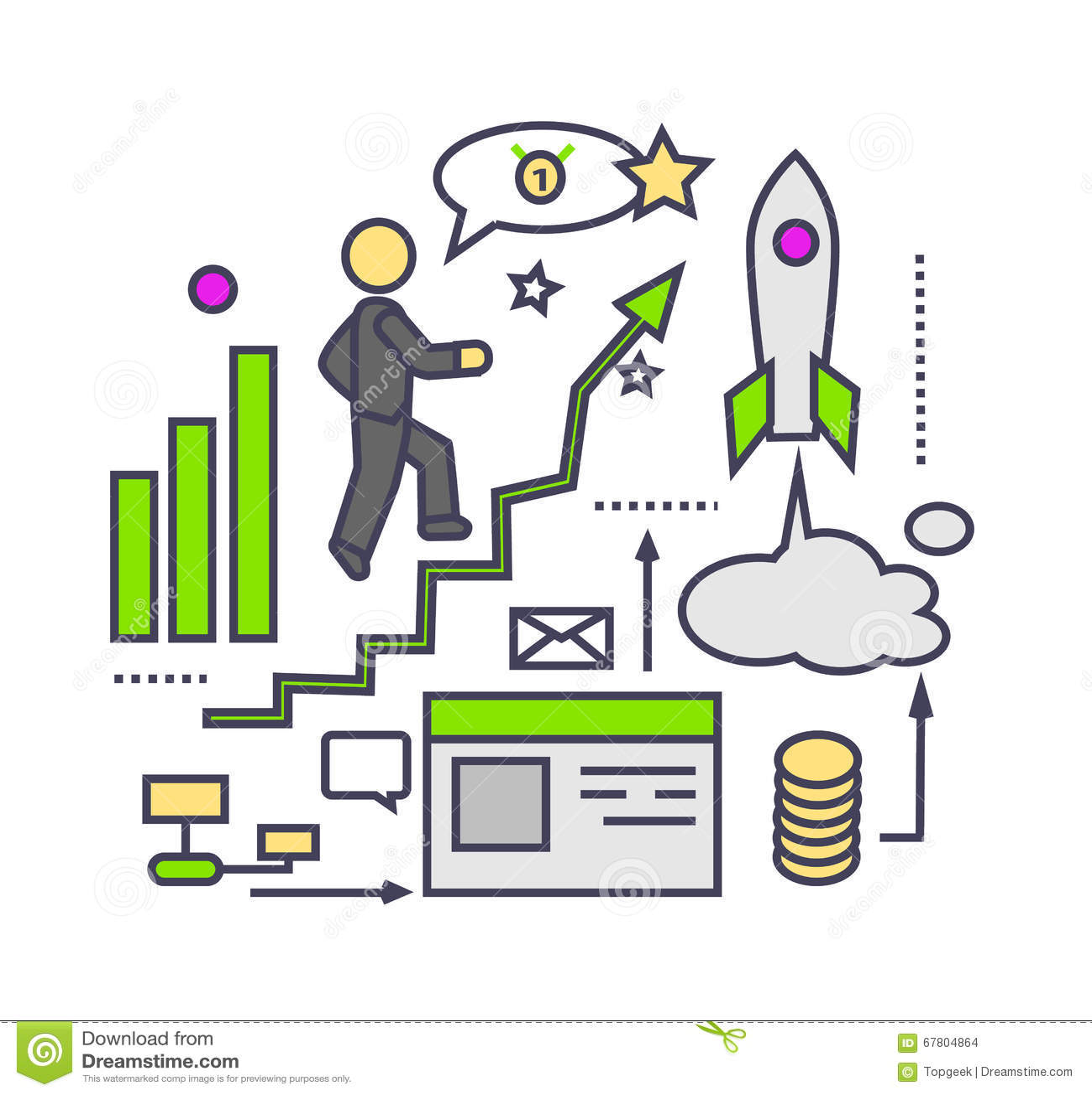 Business Development Icon : Icon flat style design successful startup stock vector