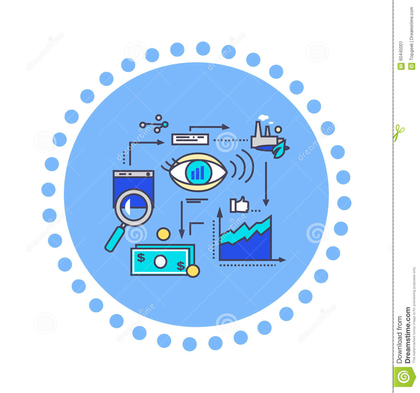 Icon Flat Style Design Vision Development