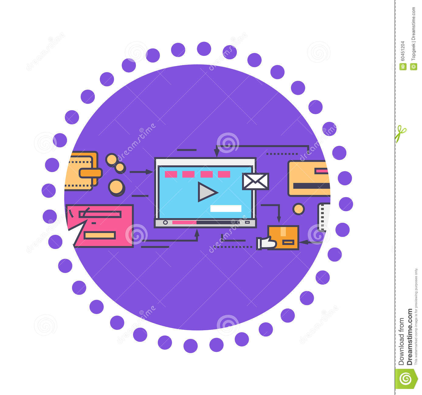 Viral Times Web: Icon Flat Style Viral Video And Social Marketing Stock