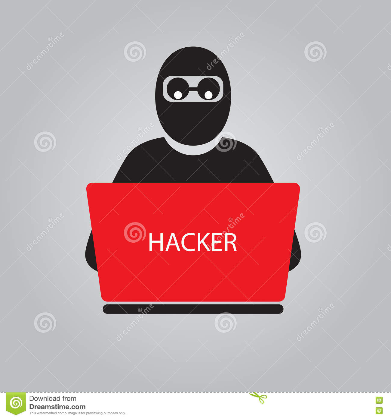 Icon of hacker with big laptop.