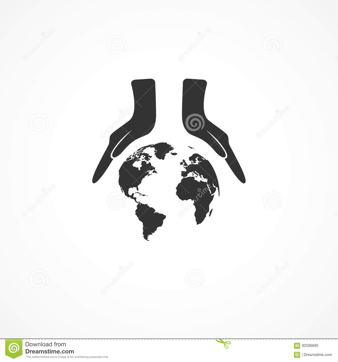 Icon hands and the earth.
