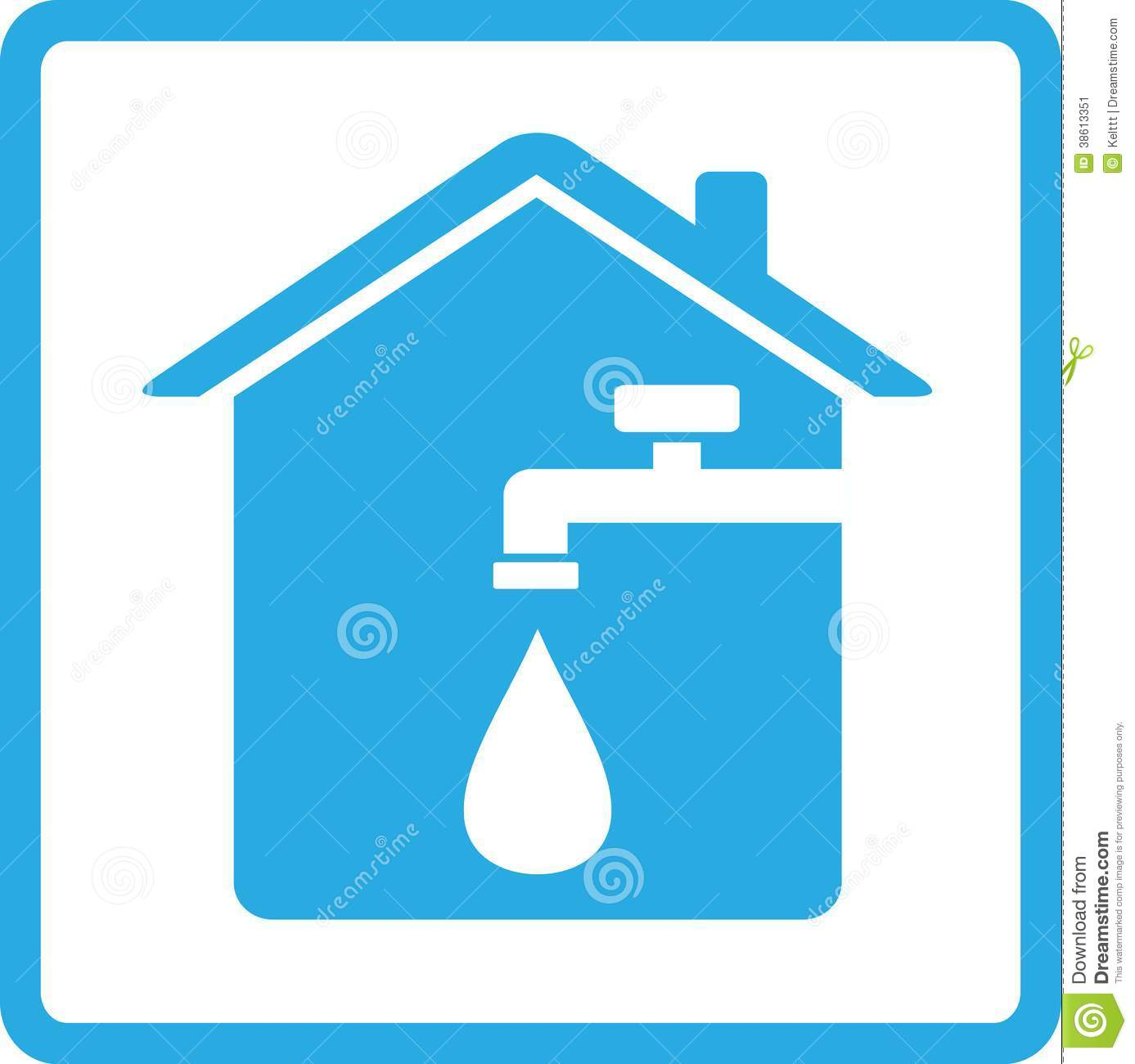 Icon With Home Spigot And Drop Of Water Stock Vector