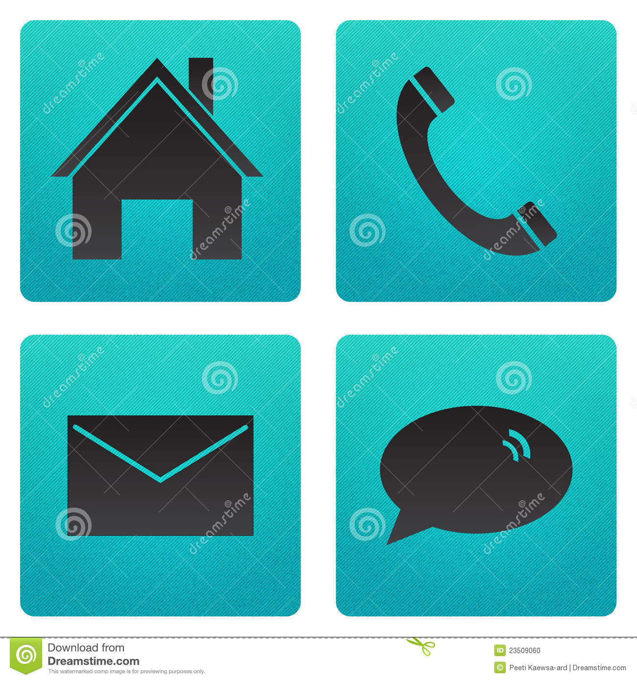 Icon home telephone email and chat stock photo image for Home telecom