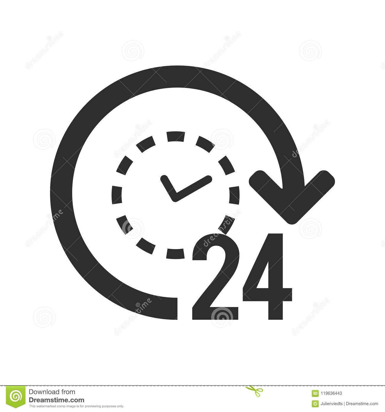 247 Icon 24 Hours Open Symbol Clock With Arrow Sign Stock Vector