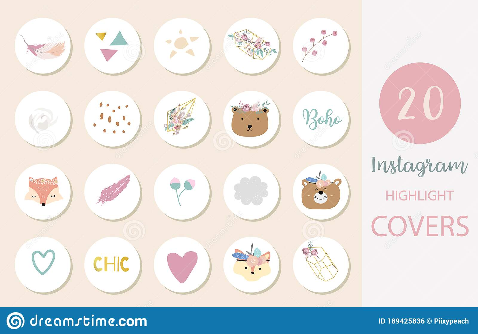 Icon Of Instagram Highlight Cover With Flower Feather Leaf For Social Media Stock Vector Illustration Of Blog Pastel 189425836