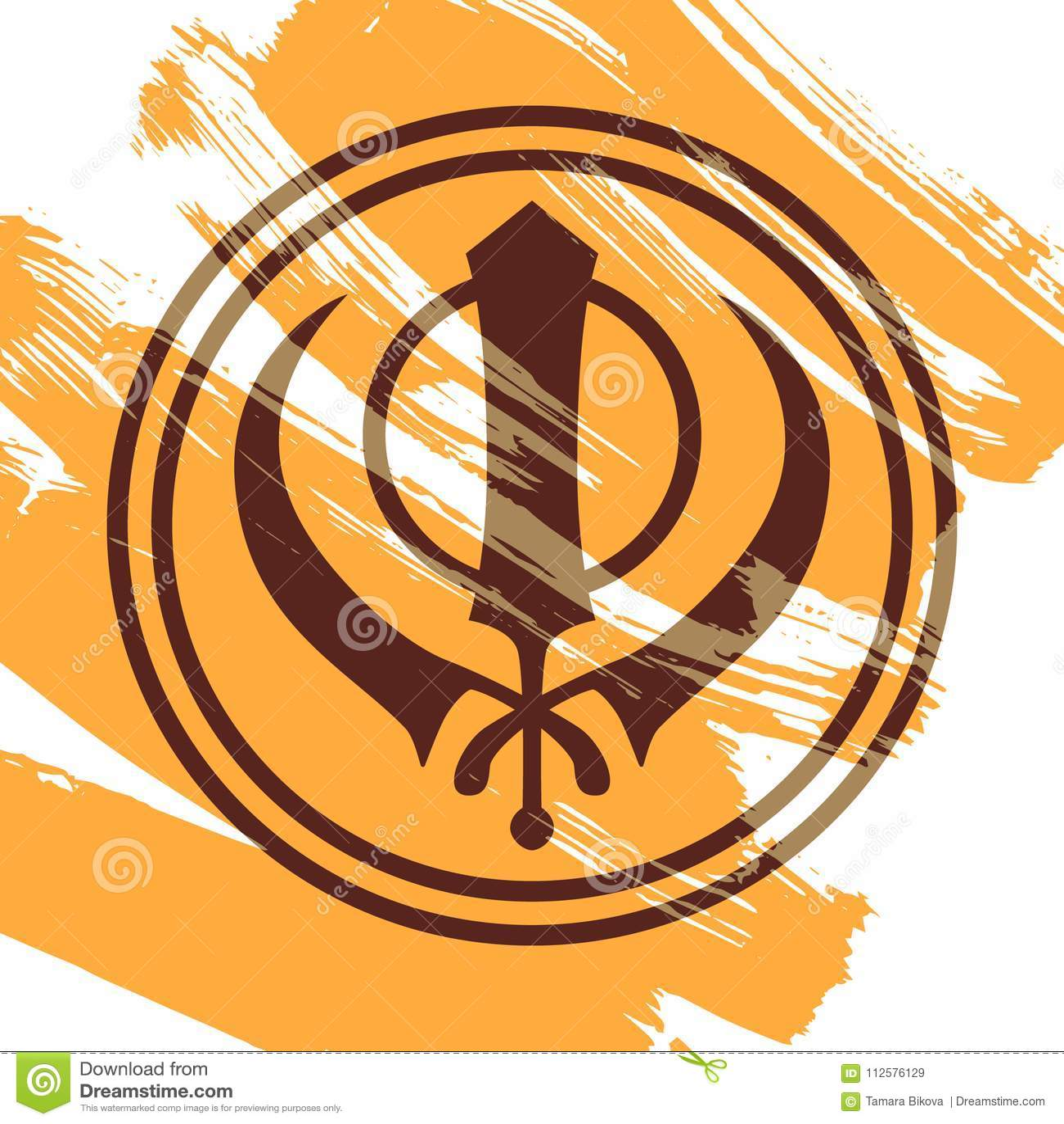 Symbol Of The Sikhs Khanda Stock Vector Illustration Of Motif
