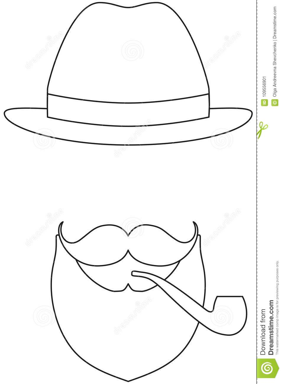 a48962b9 Icon line art poster man father dad day avatar elements set hat mustache  smoking tobacco pipe
