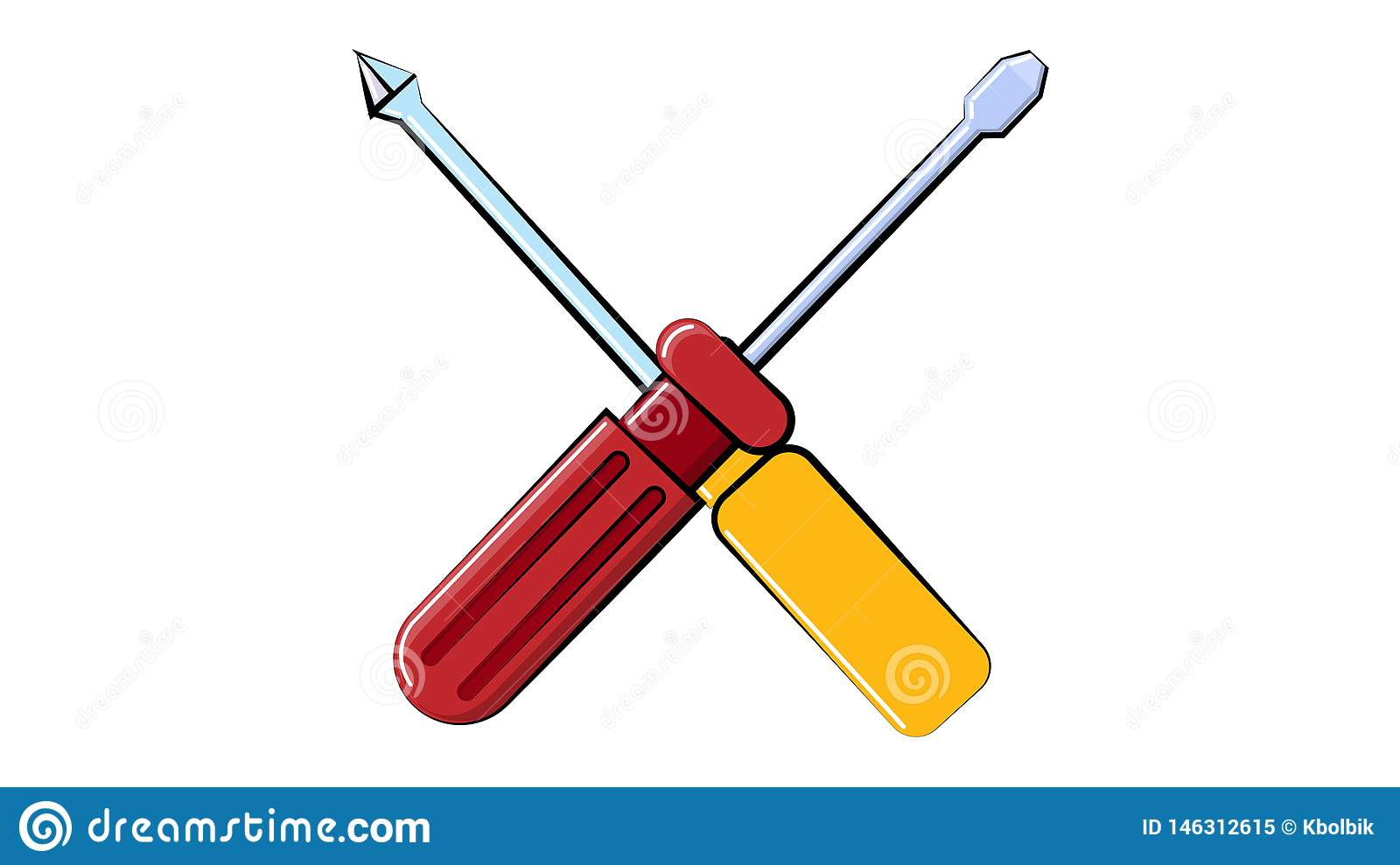 Icon construction red and yellow flat and cross screwdrivers for repair, a crossed tool on a white background. Vector illustration