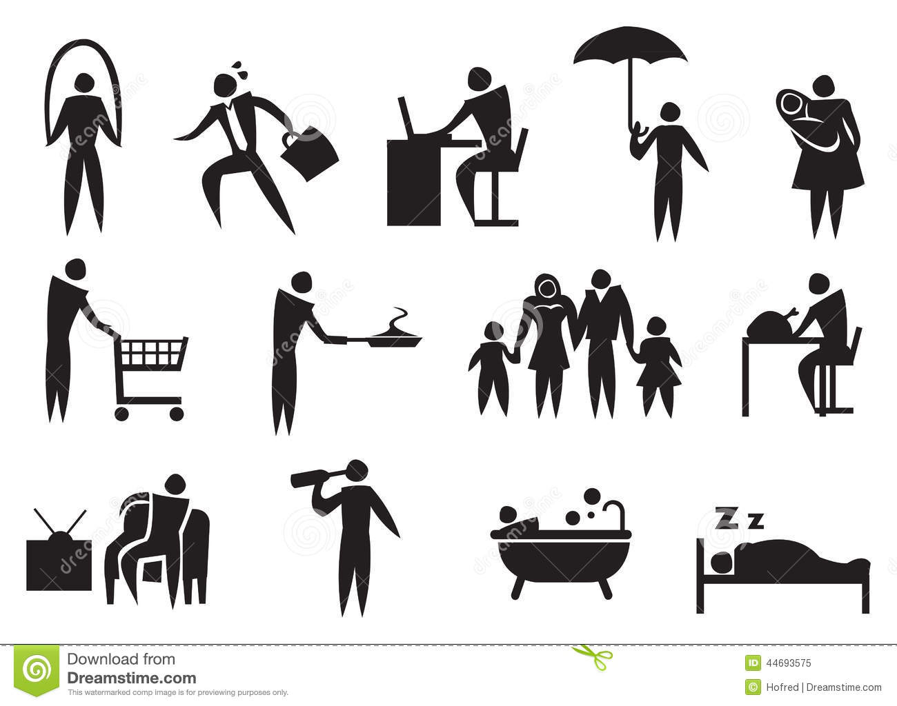 Icon Of Man Doing His Daily Routine. Stock Photo - Image: 44693575