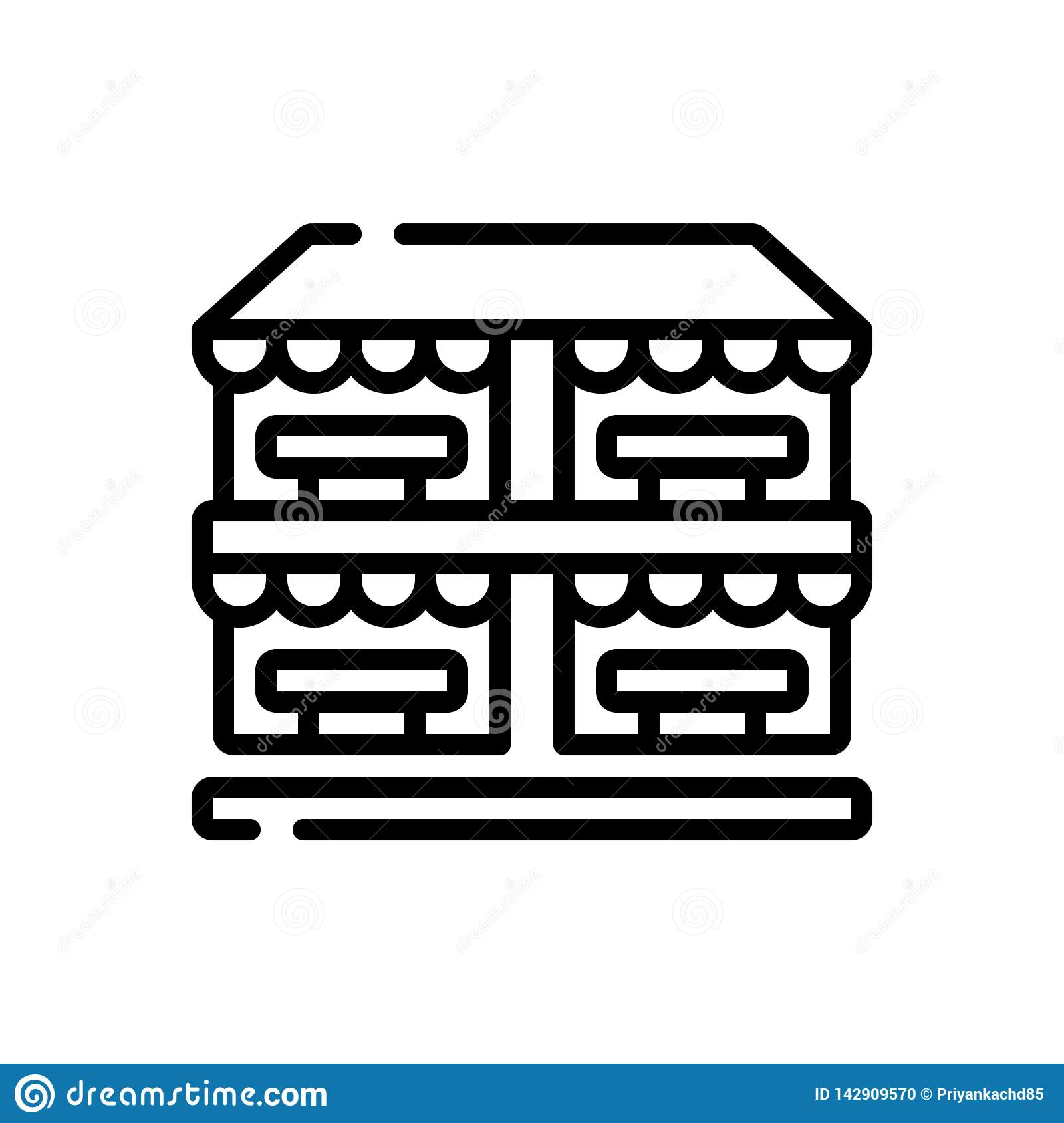 Peachy Black Line Icon For Market Shop And Place Stock Vector Download Free Architecture Designs Scobabritishbridgeorg