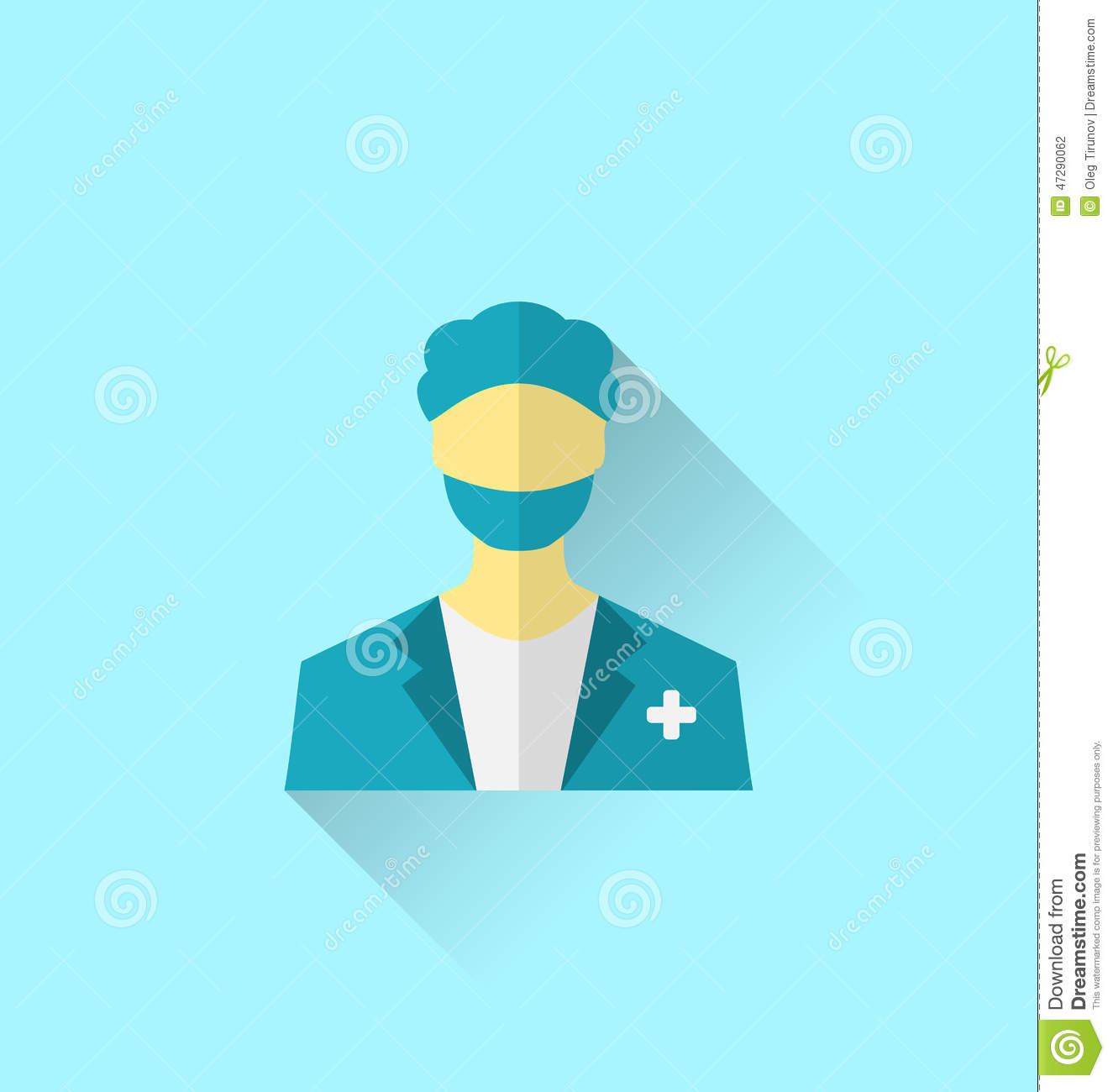 Icon Of Medical Doctor With Shadow In Modern Flat Design ...