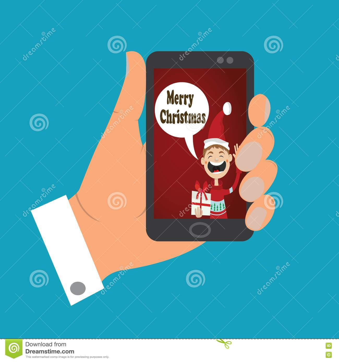 Icon Mobile Phone With Christmas Greetings Stock Vector