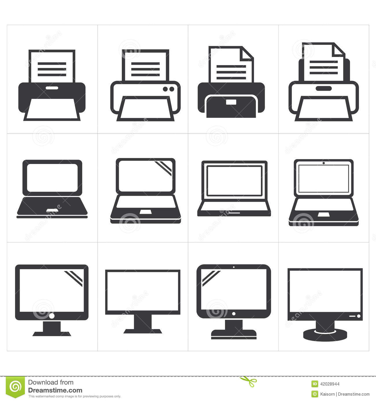 icon office equipment fax  laptop printer stock vector