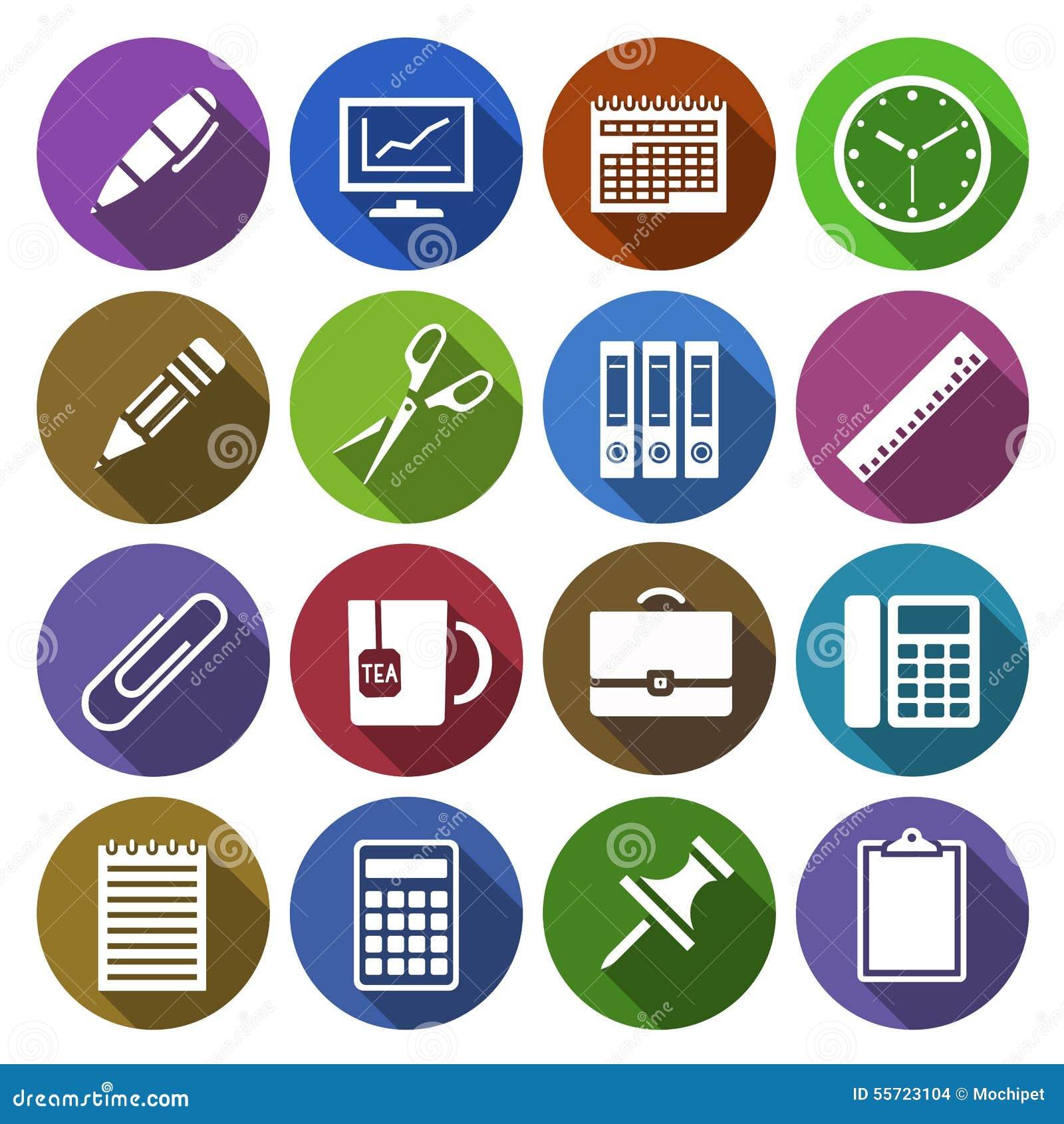Icon of office supplies in flat design stock vector for Articulos de oficina