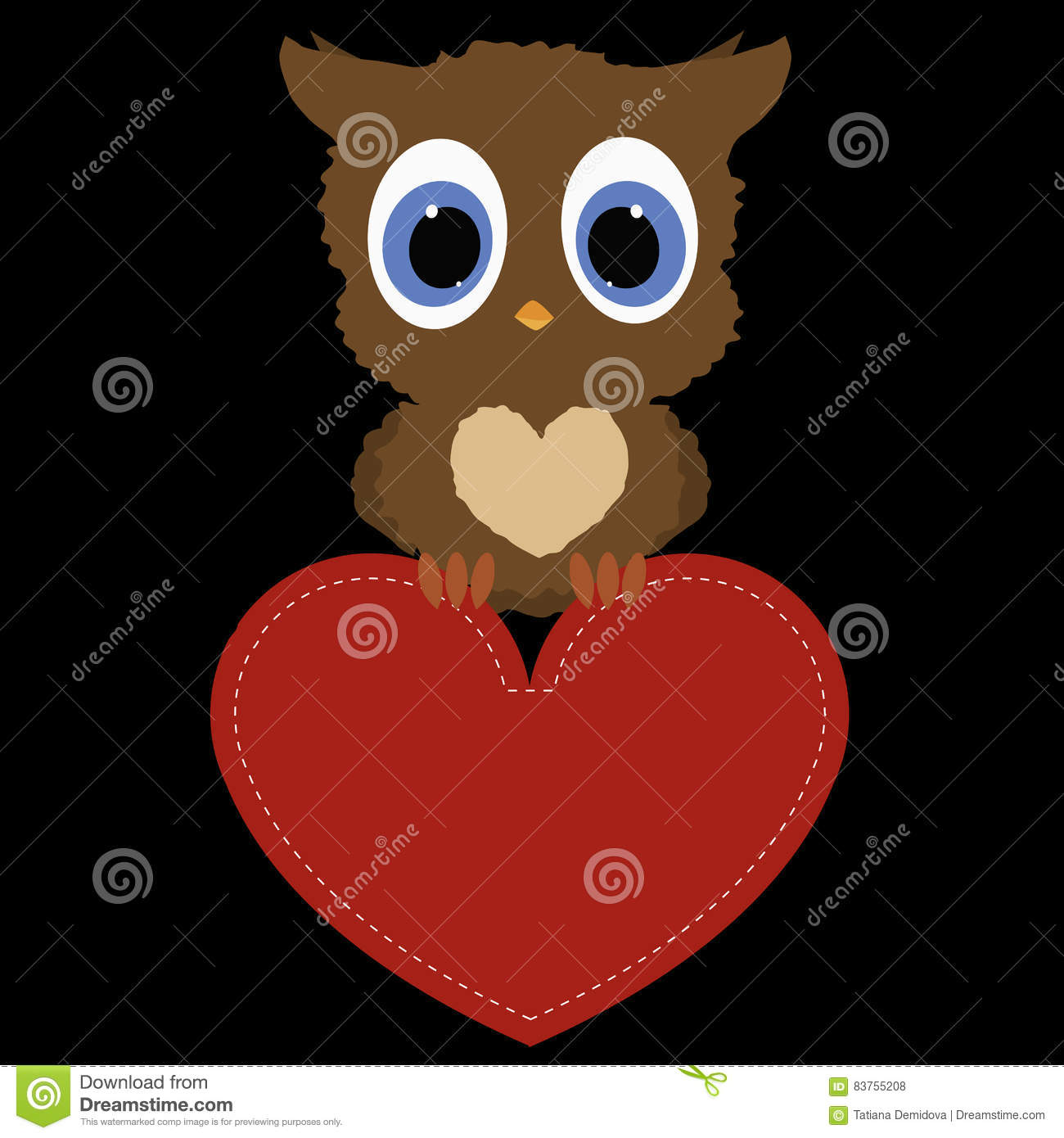 Icon Owl Holding A Red Heart Frame On Black Background Template