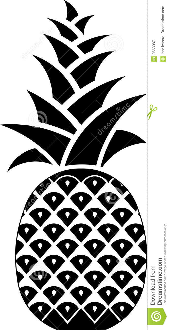 Icon Pineapple Symbol Of Hospitality Stock Illustration