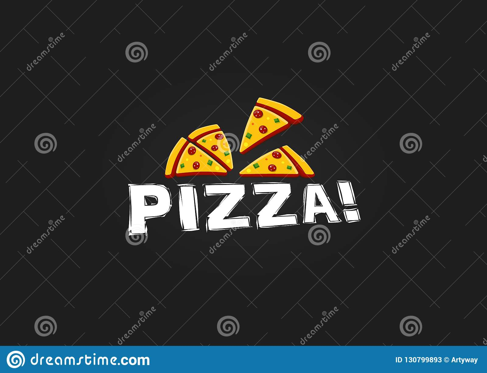 Icon of Pizza slice. Modern Pizzeria logo template. Italian Food Restaurant Emblem. Fast food cafe logotype design