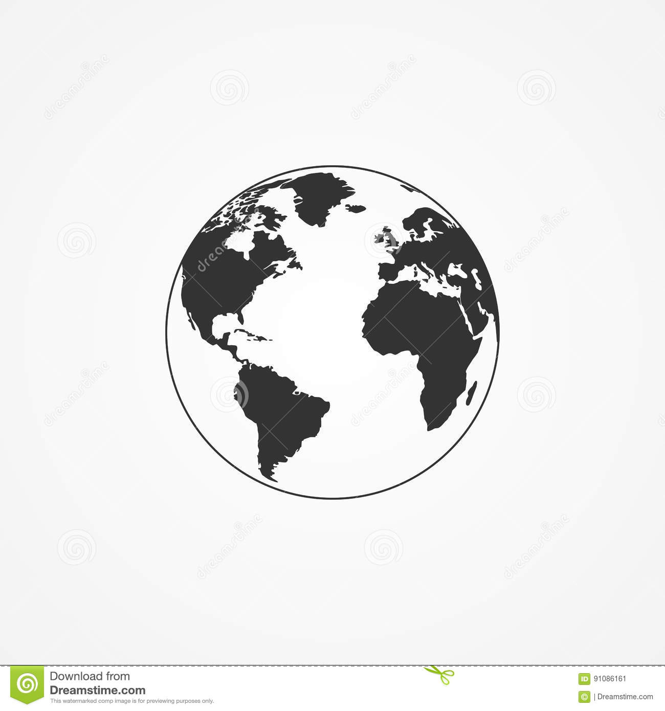 icon of the planet earth stock vector illustration of flat 91086161 rh dreamstime com earth vector map free earth vector image