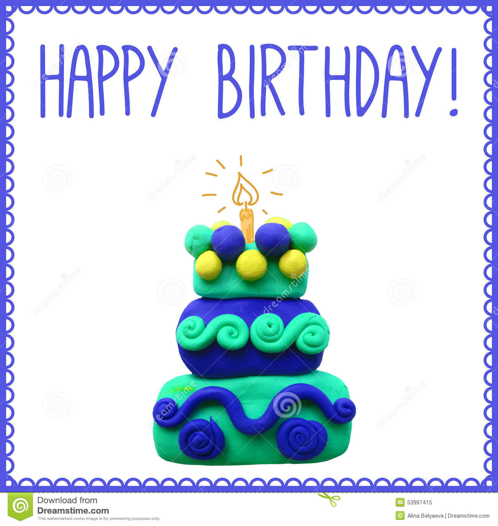 Icon Of Plasticine Birthday Cake Stock Vector