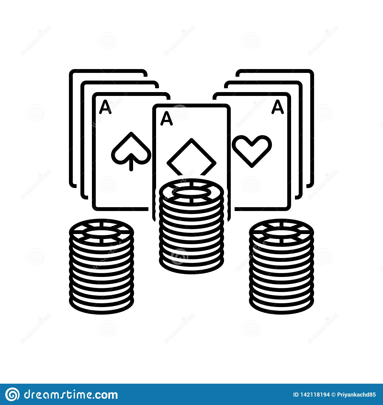 Black line icon for Poker, chip and gamble