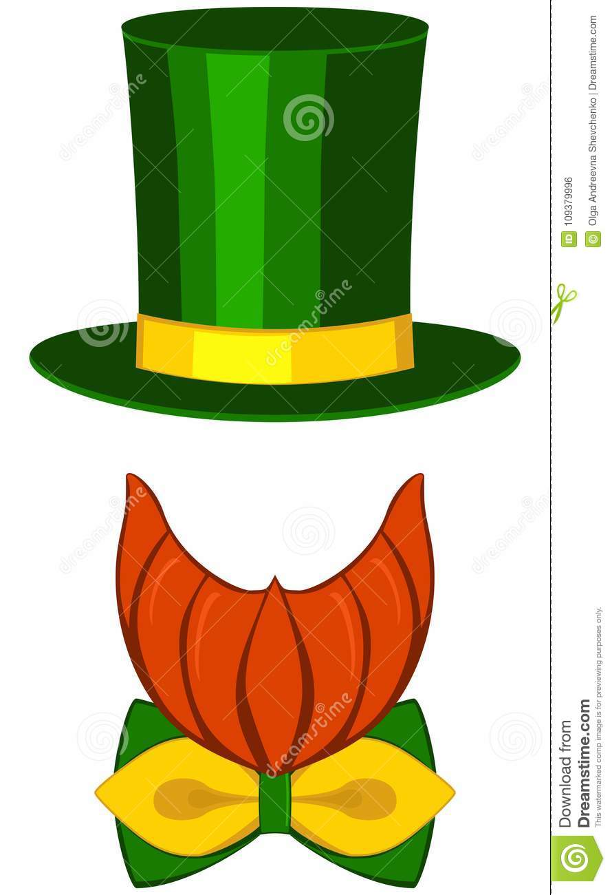 Icon poster leprechaun st. patrick day avatar element set tall hat glasses  beard 854ba79525a6