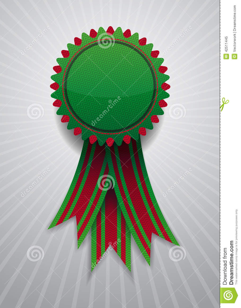 Icon with red and green ribbon