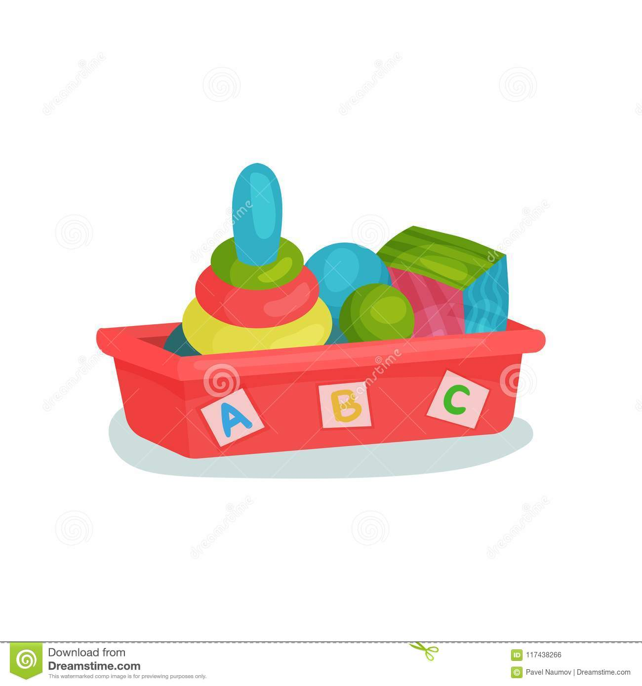Red plastic box with balls, colorful cube and pyramid with rings. Kids toys. Flat vector element for banner of children