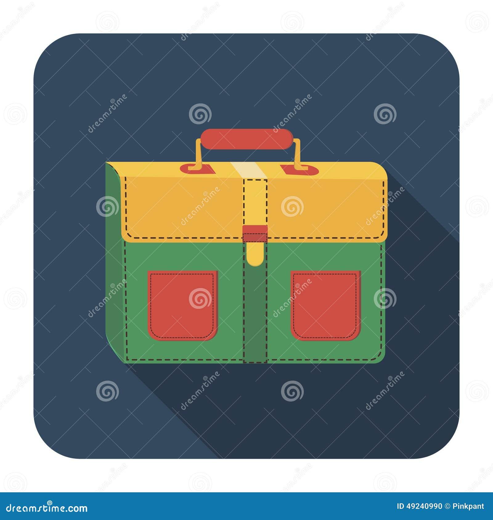 School bag diagram - Icon School Bag Flat Long Shadow