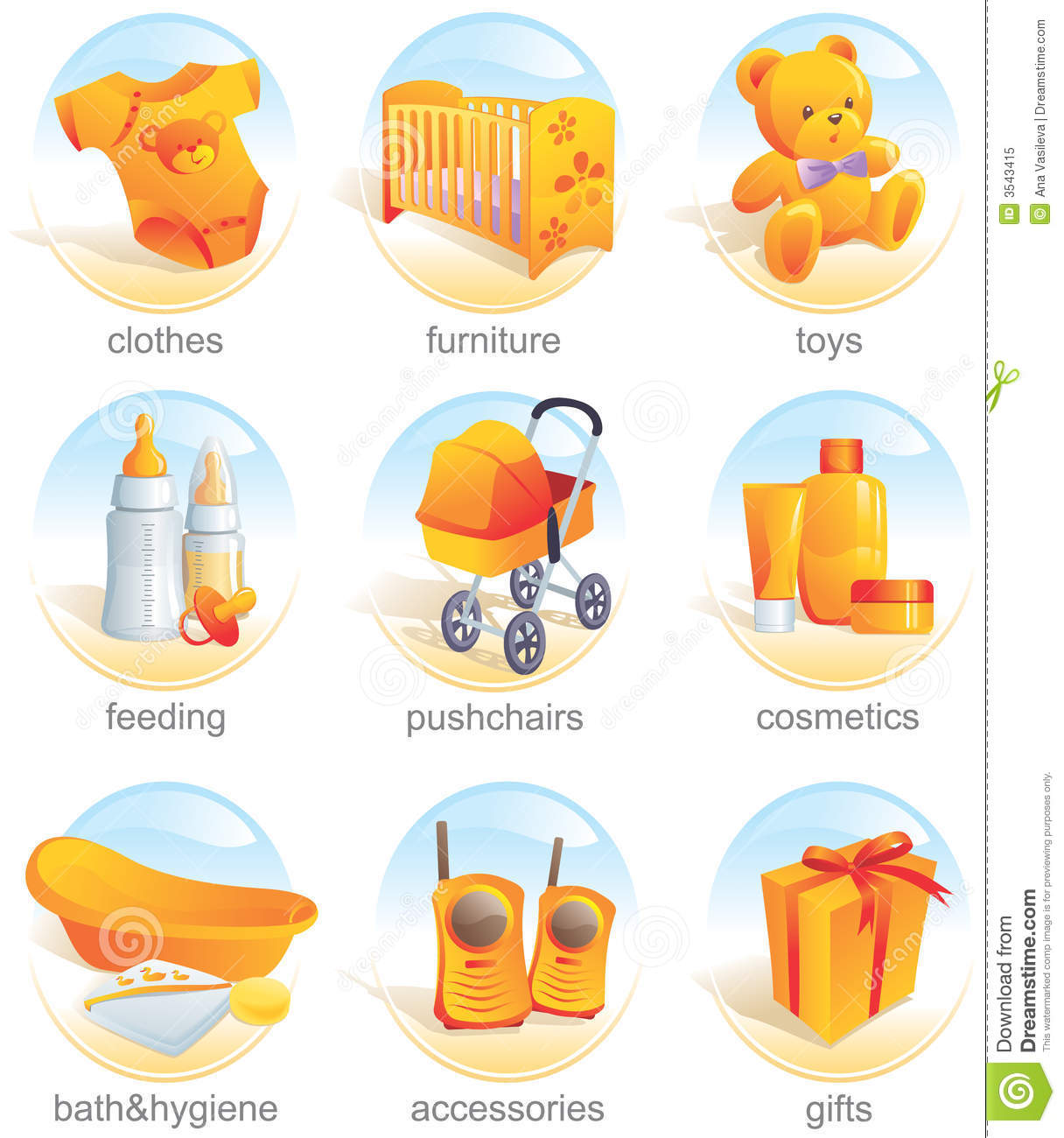 Icon Set - Baby Items. Aqua Royalty Free Stock Photo - Image: 3543415