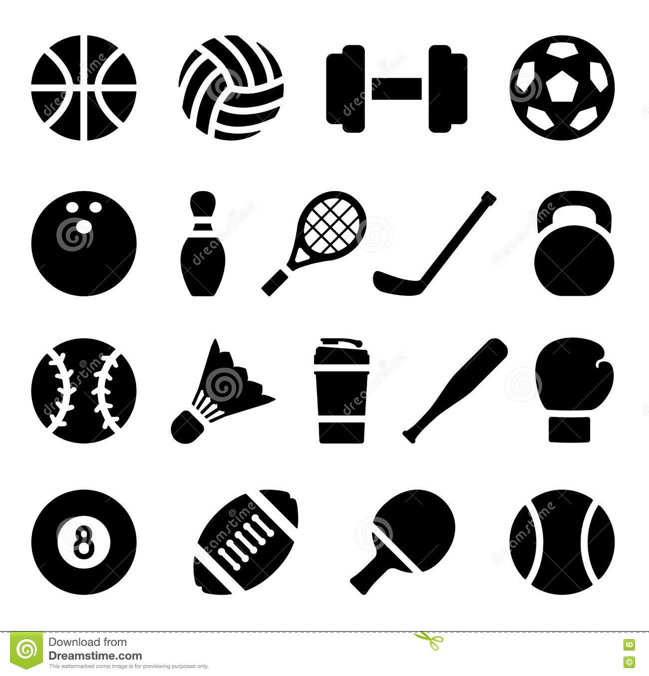 Icon Set Of Black Simple Silhouette Of Sports Equipment In