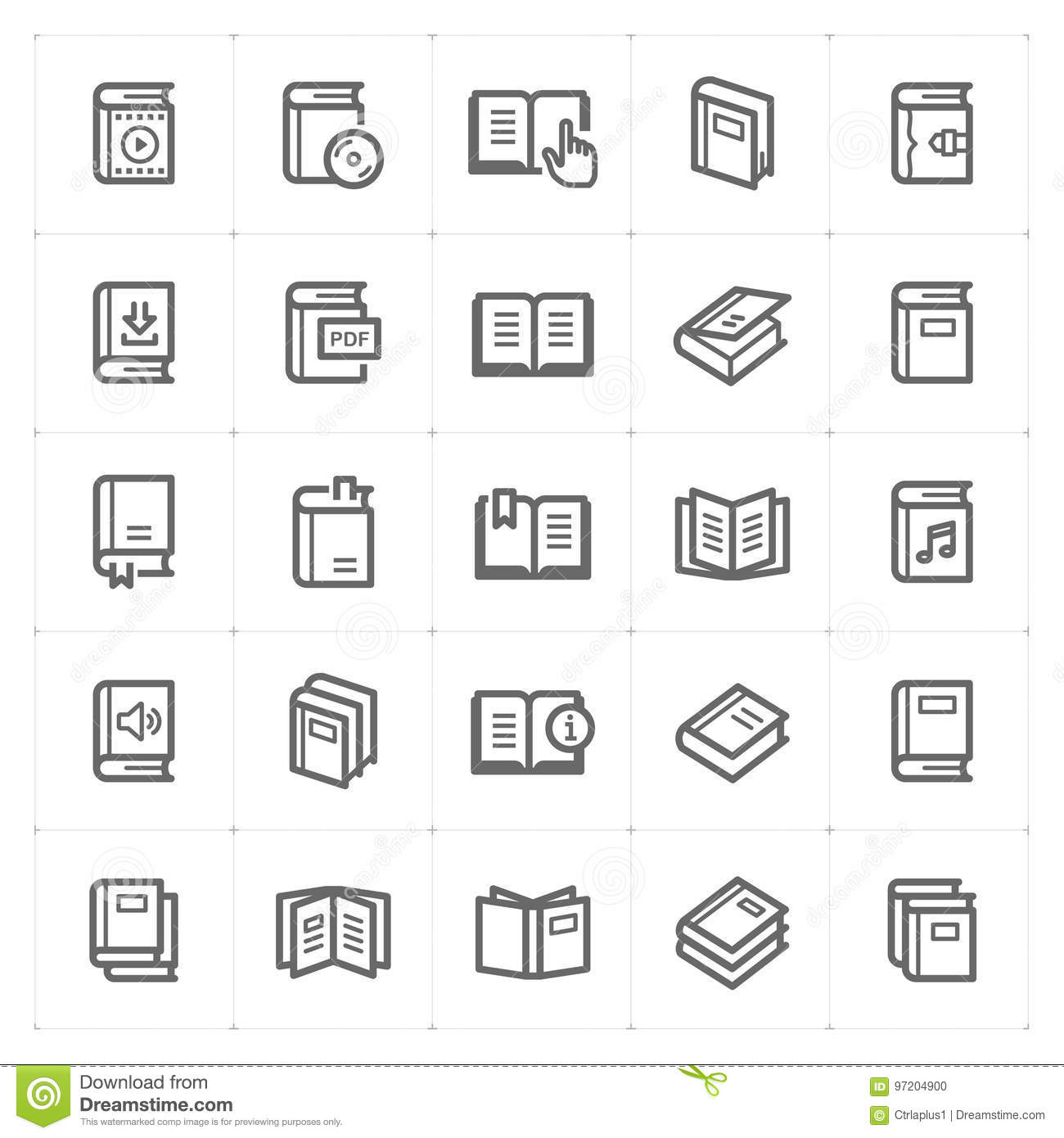 Icon set - book outline stroke