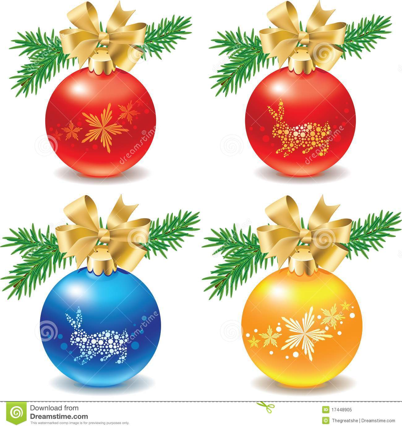 Icon Set Of Christmas Balls Decorations Stock Vector Illustration