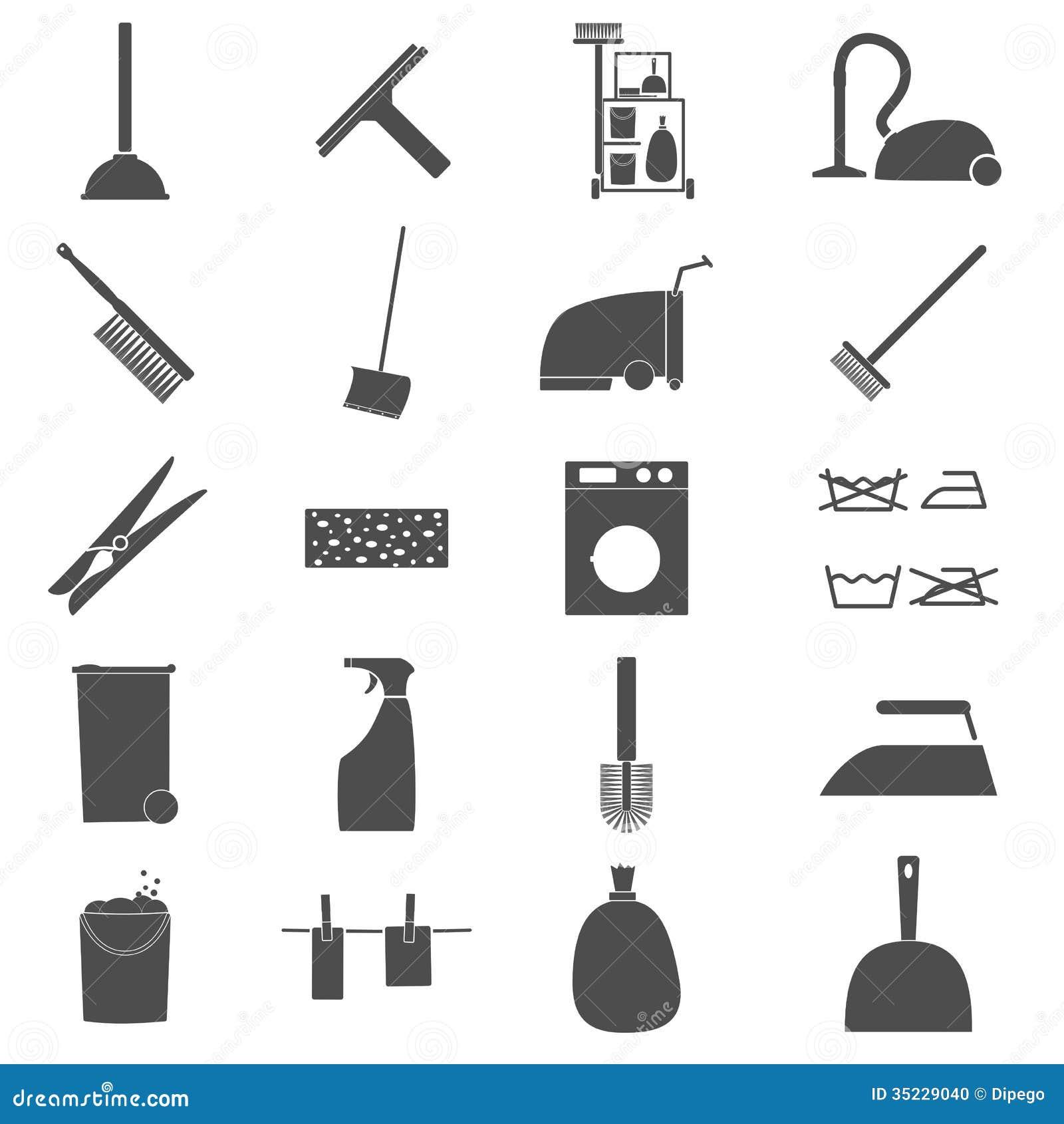 icon set cleaning stock illustration illustration of tool 35229040