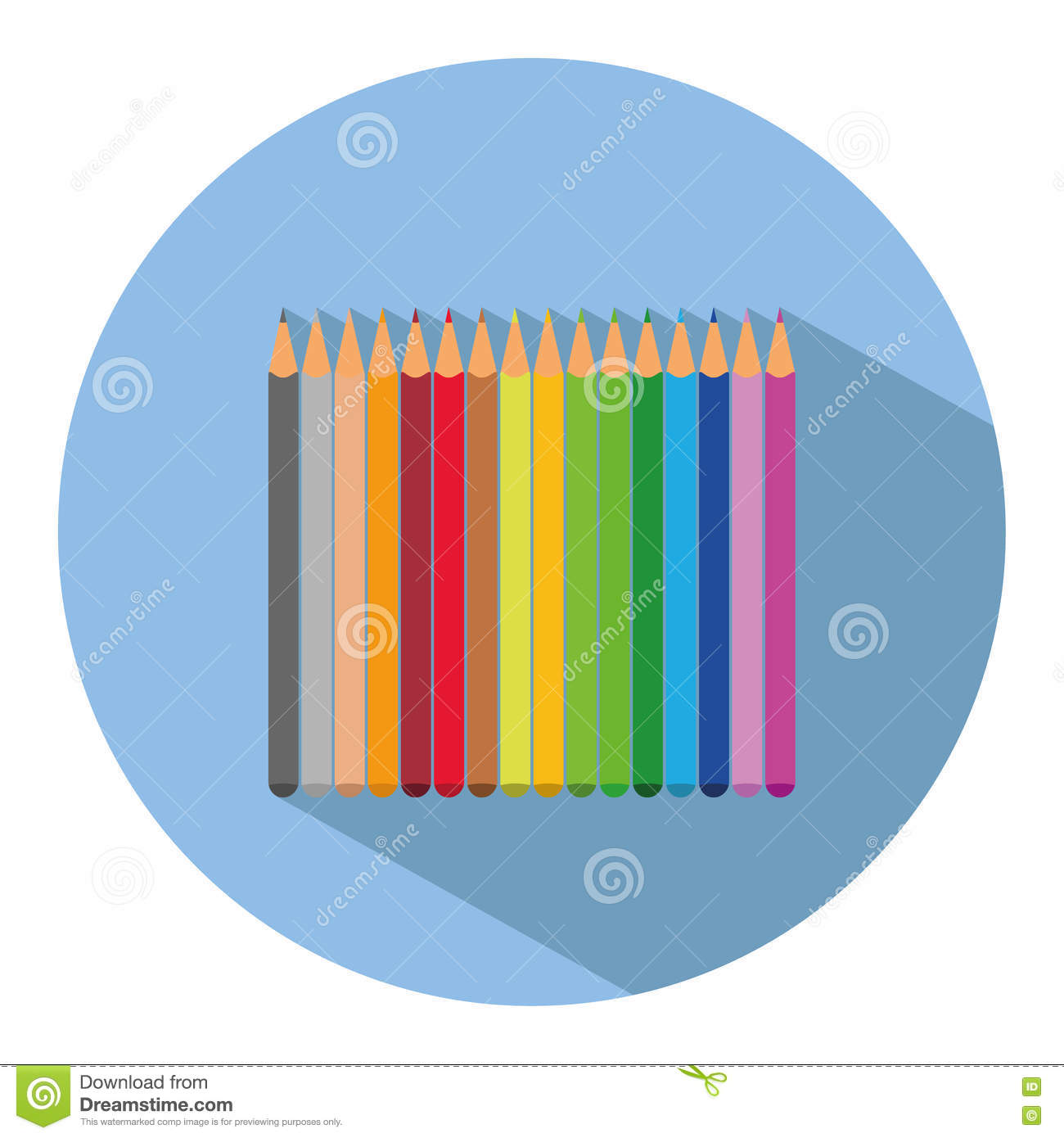 icon of a set of colored pencils in flat style vector illustration rh dreamstime com