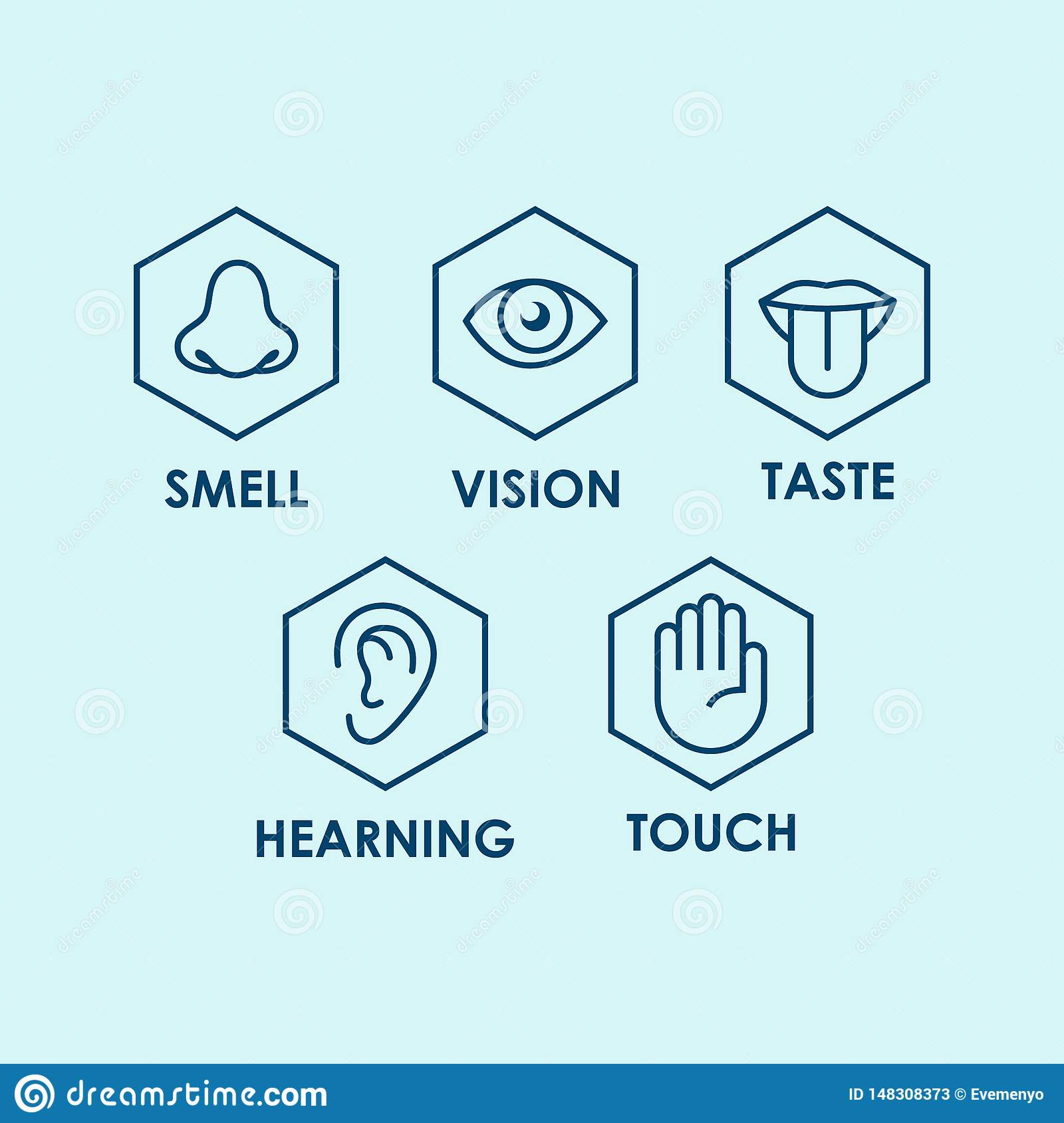 Icon set of the five human senses: vision eye smell nose hearing ear touch hand taste mouth with tongue.