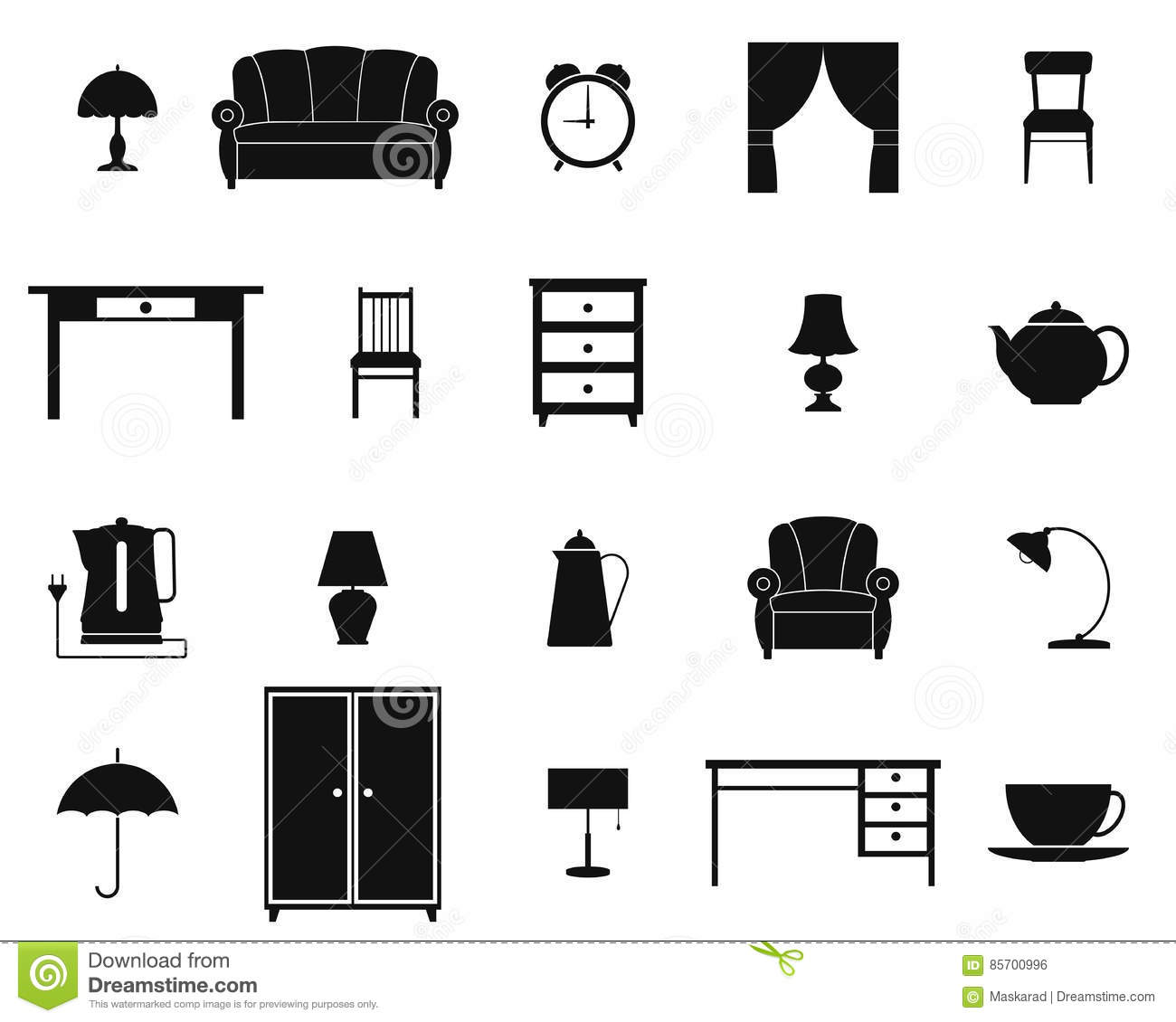 Icon set with furniture and household items vector stock for Articulos para el hogar