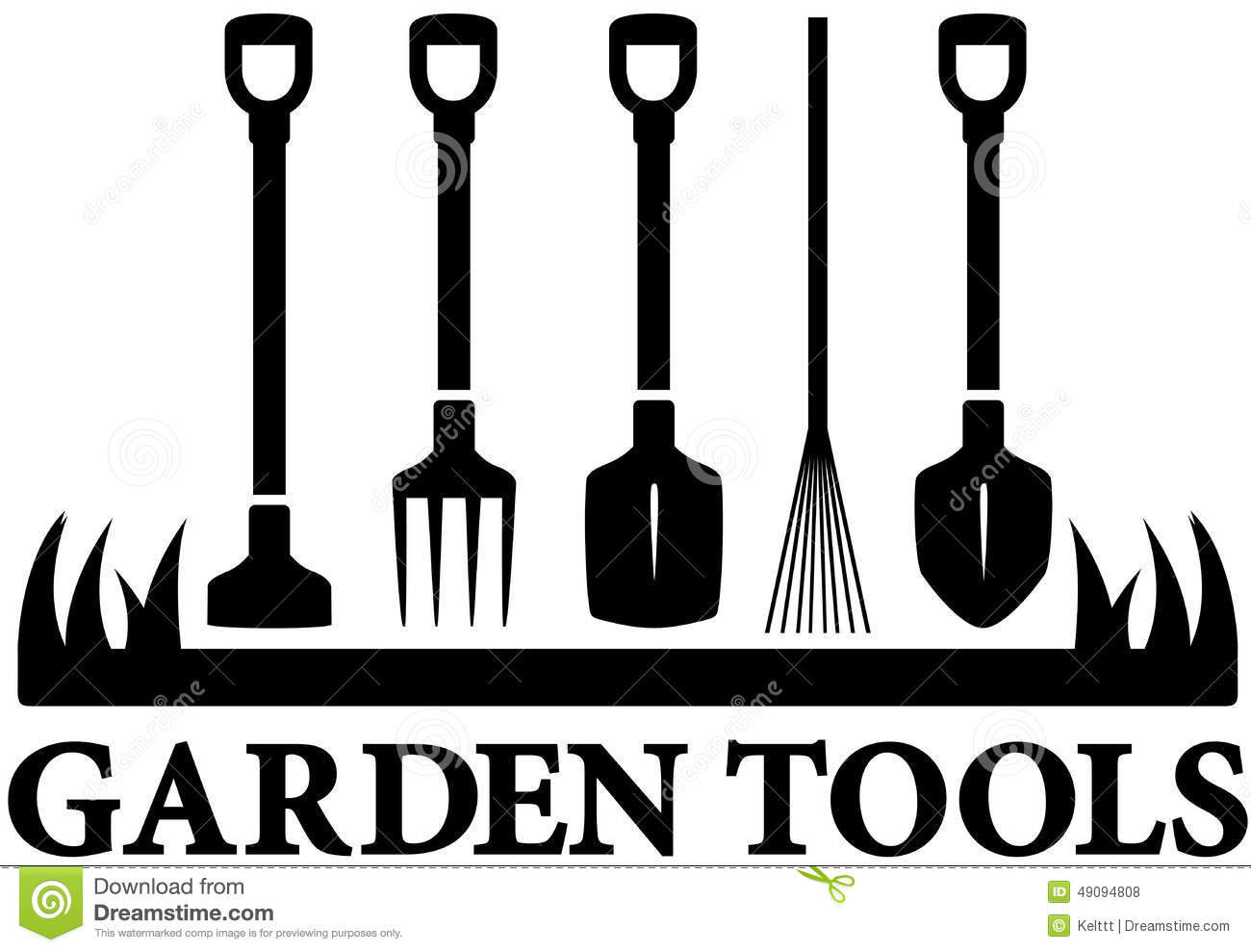 Icon with set garden tools stock vector illustration of for Logo drawing tool