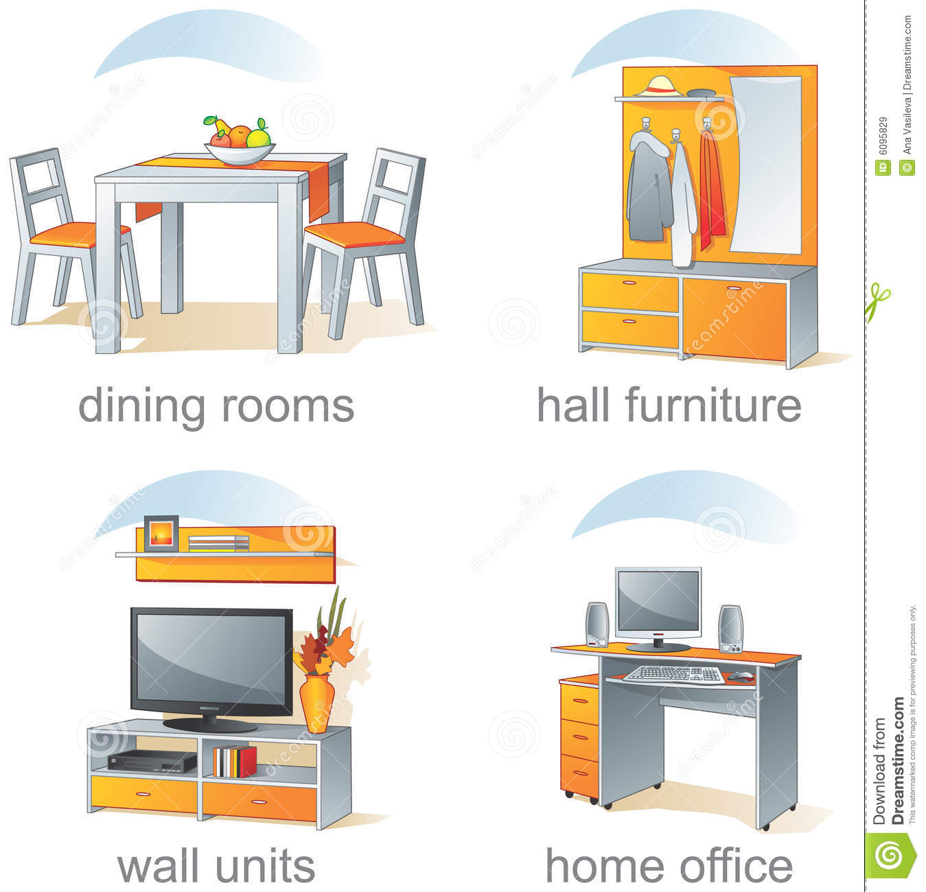 icon set home furniture items royalty free stock images image 6095829. Black Bedroom Furniture Sets. Home Design Ideas