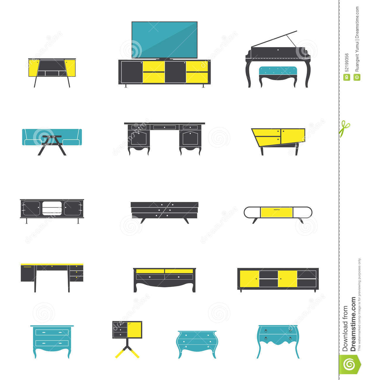 Flat Design Interior Dining Room Vector Illustration Stock: Icon Set Of Home And Office Furniture Interior In Flat