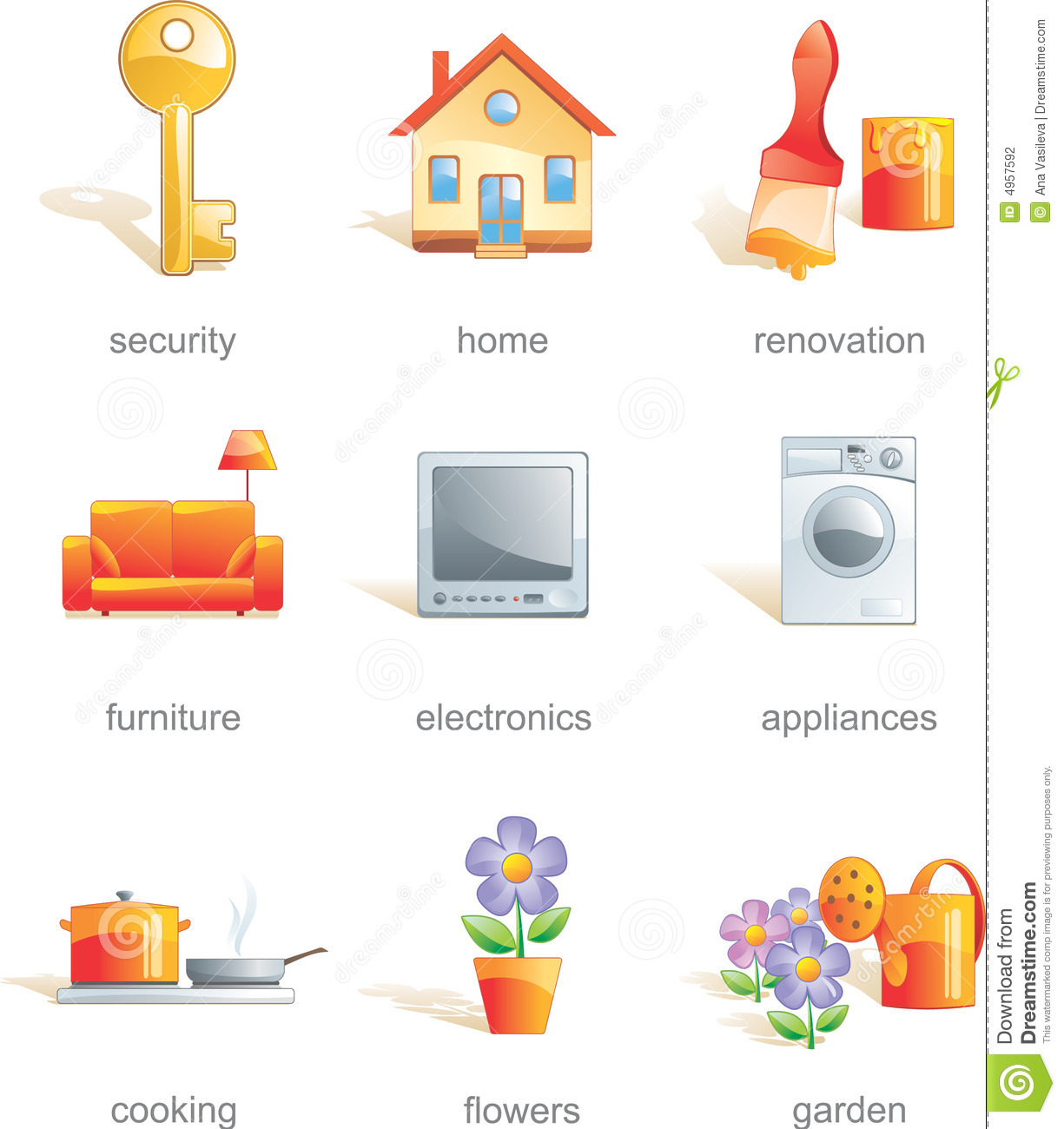 Home Items: Icon Set, Home Related Items Stock Photography