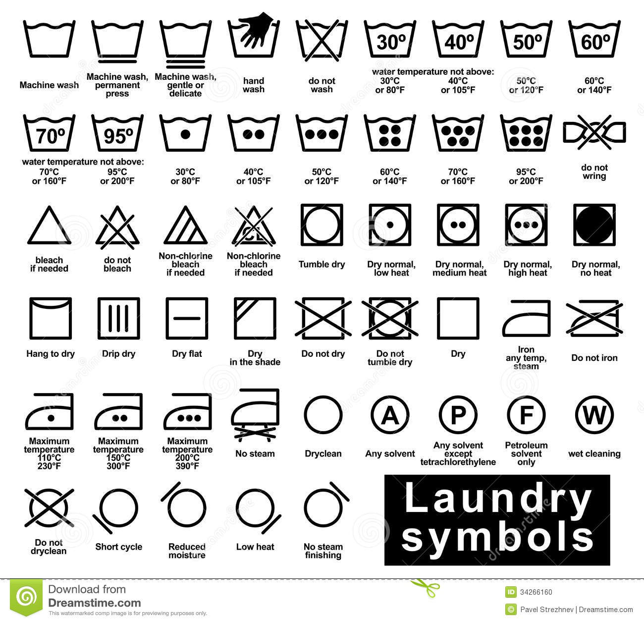 Icon Set Of Laundry Symbols Stock Vector Illustration Of