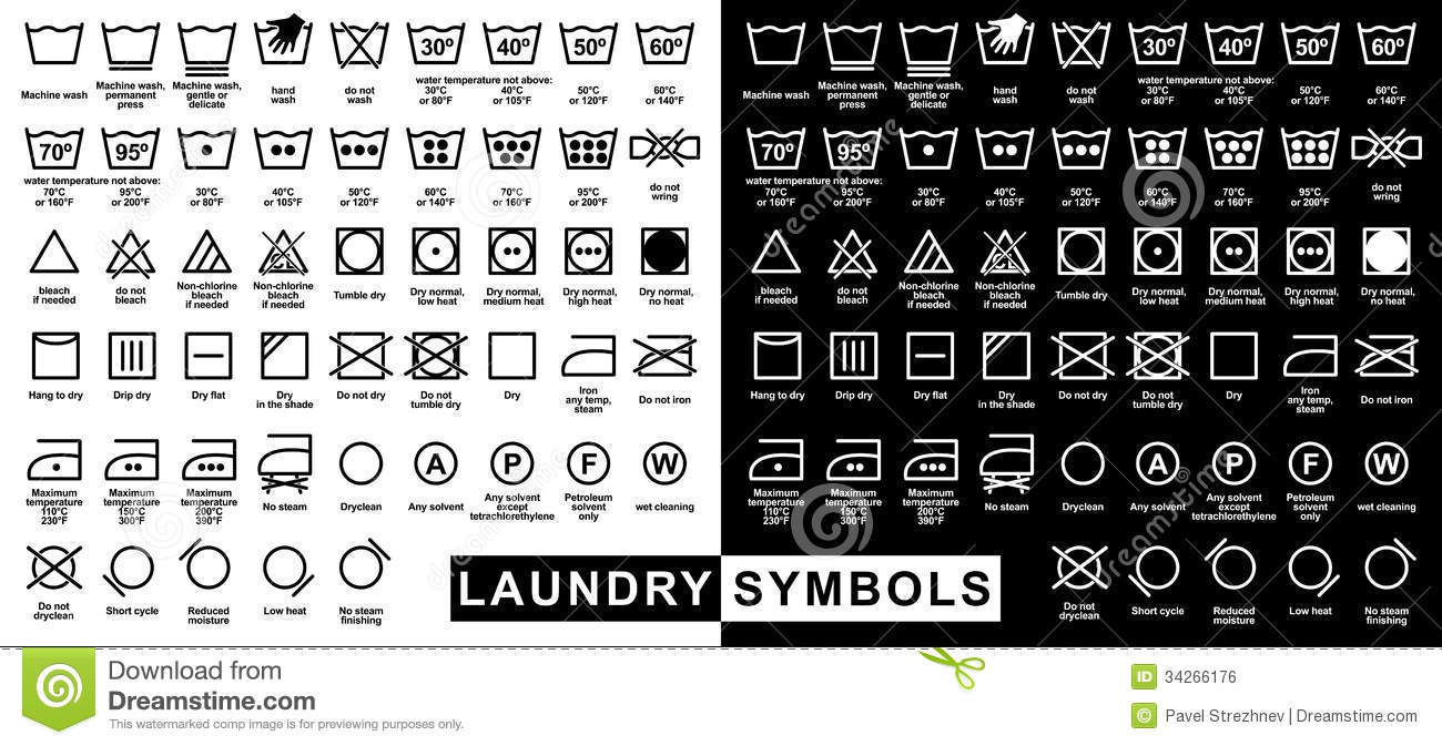 Icon Set Of Laundry Symbols Stock Vector Illustration Of Cold