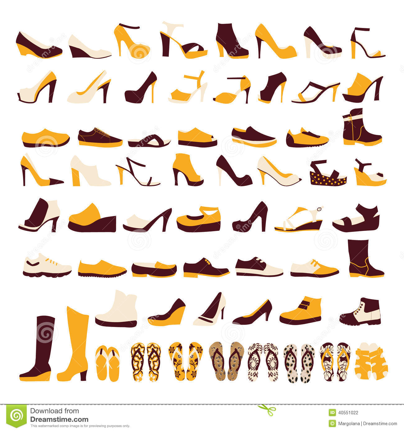 7754c17b9627 Icon Set Of Men s And Of Women s Shoes Stock Vector - Illustration ...