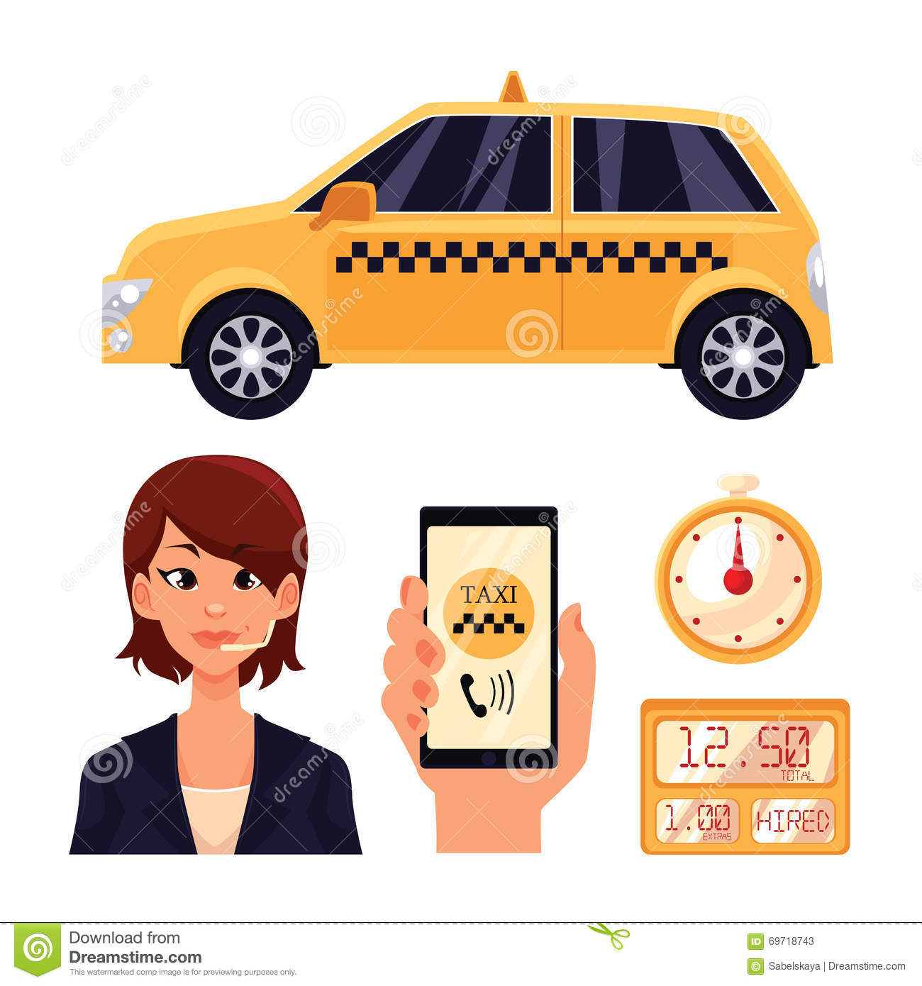 Icon Set With The Service Taxi Dispatcher And Transport People In ...