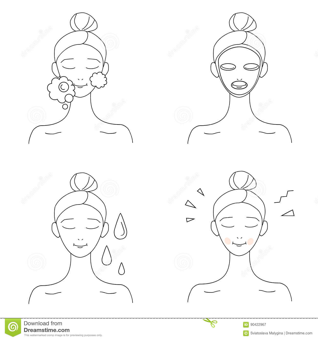 Skin Care Infographic: Icon Set For Skin Care Infographics. Stock Vector